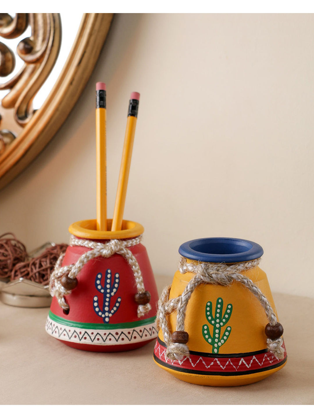 Handpainted terracotta Pen Stands Set of Two