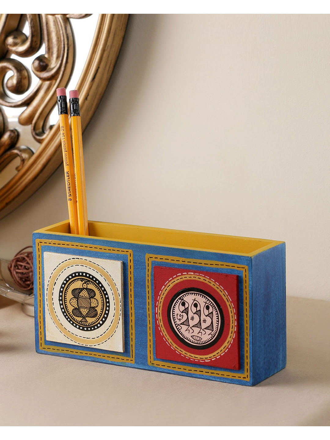 Hand Crafted Blue Tiled Double Pen Stand
