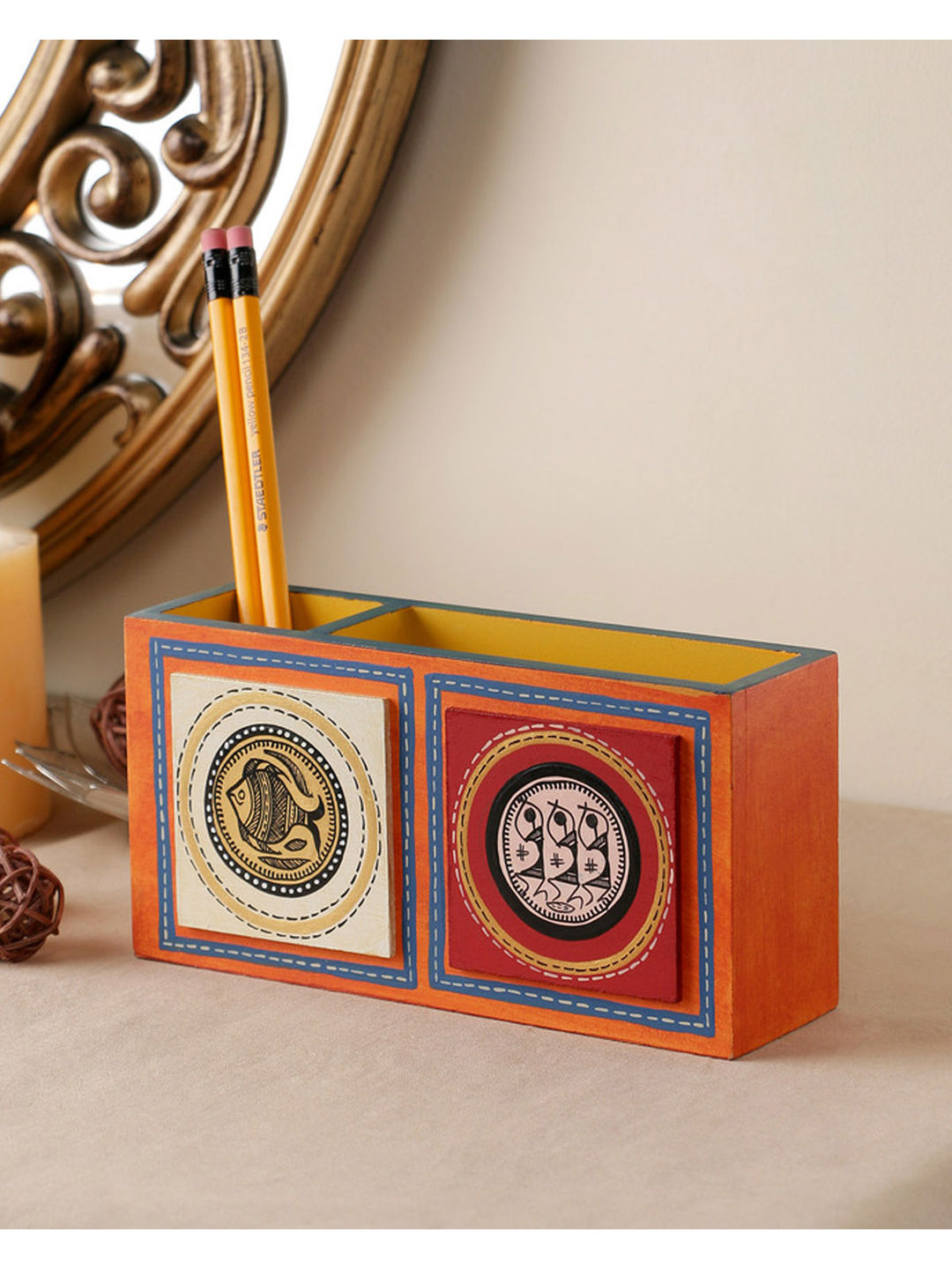 Hand Crafted Orange Tiled Double Pen Stand