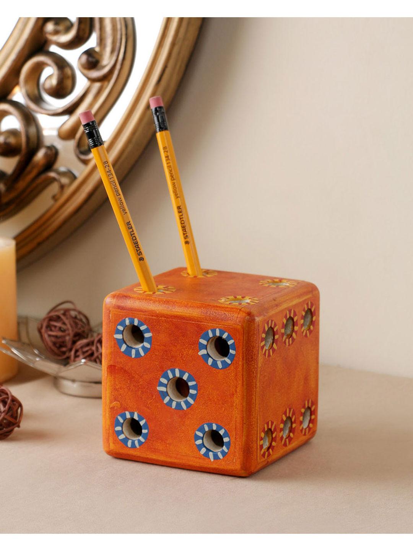 Handmade Wooden Orange Dice Pen Stand
