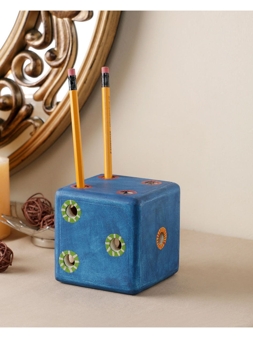 Handmade Wooden Blue Dice Pen Stand