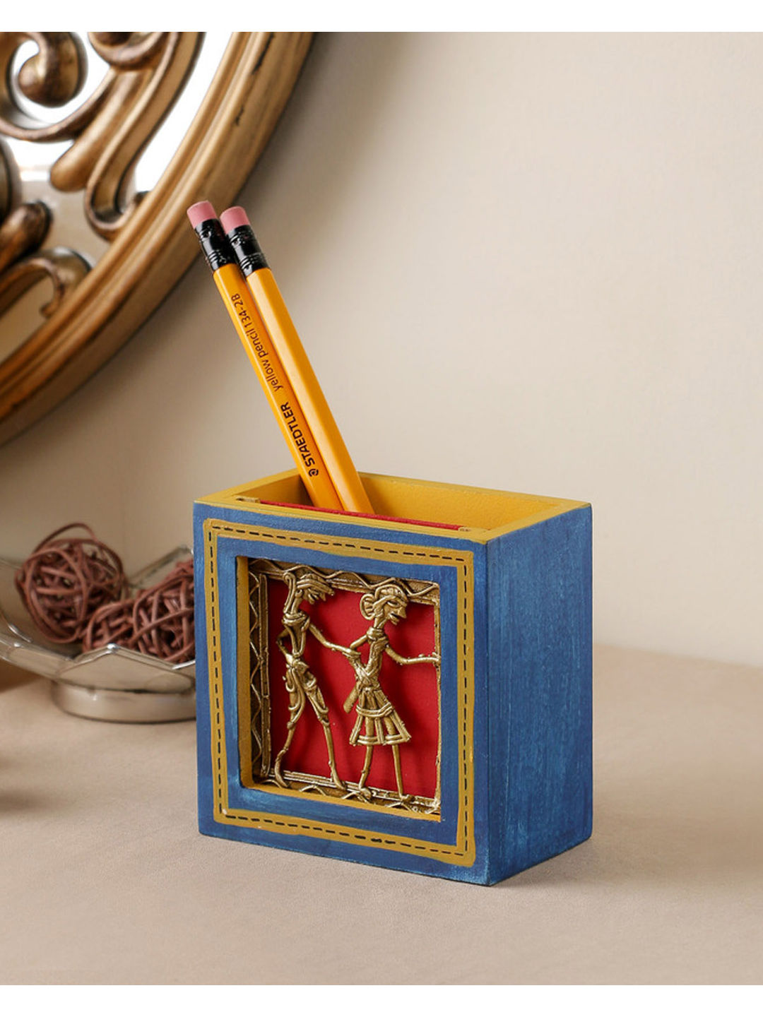 Hand Crafted Blue Dhokra Pen Stand