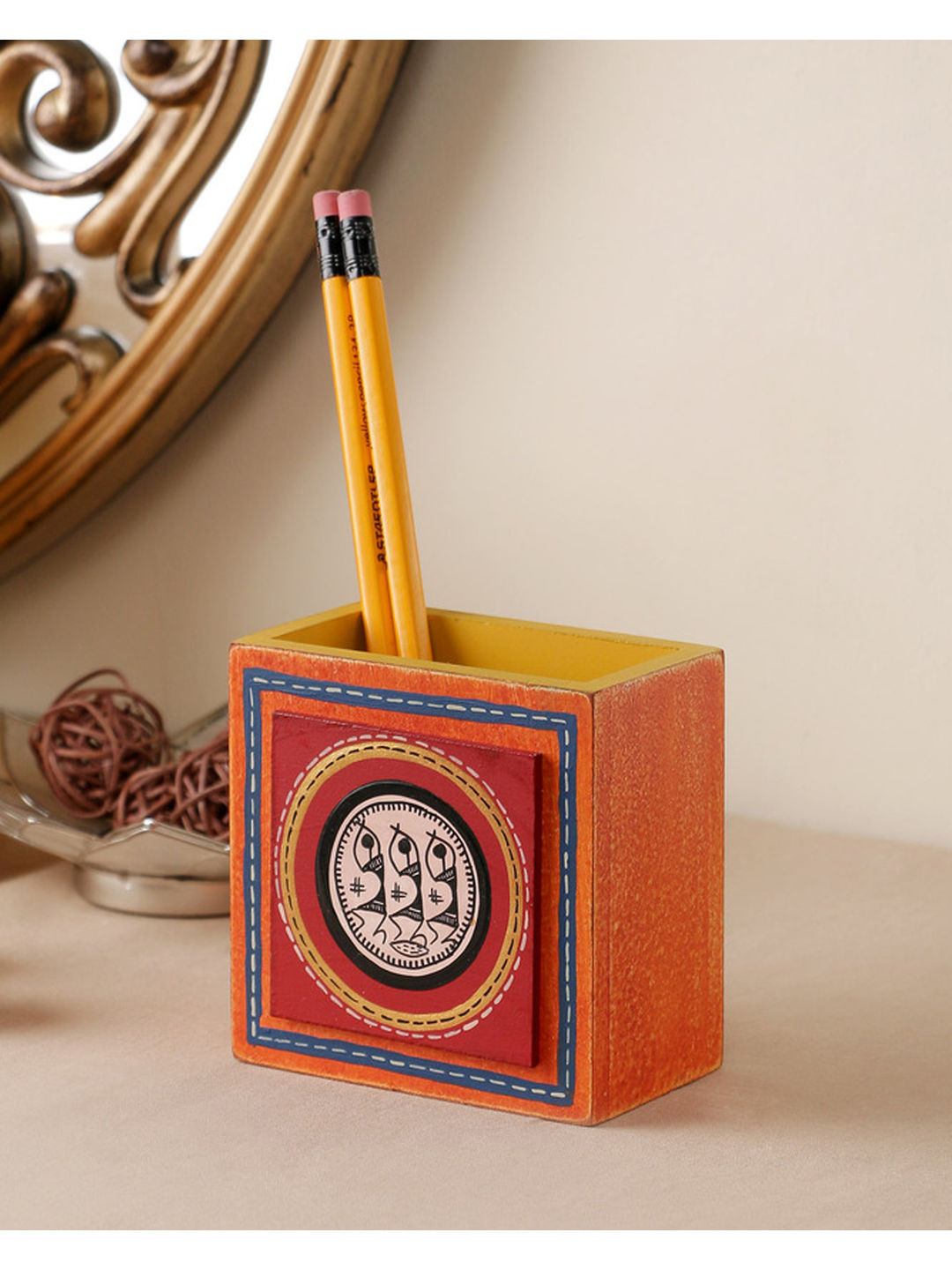 Hand Painted Orange Tiled Pen Stand