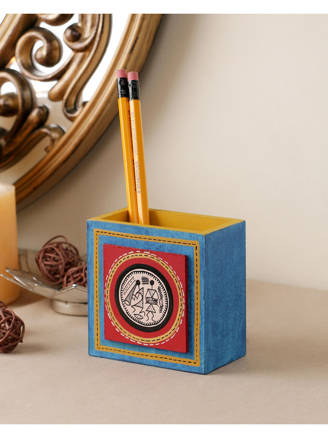 Hand Painted Blue Tiled Pen Stand