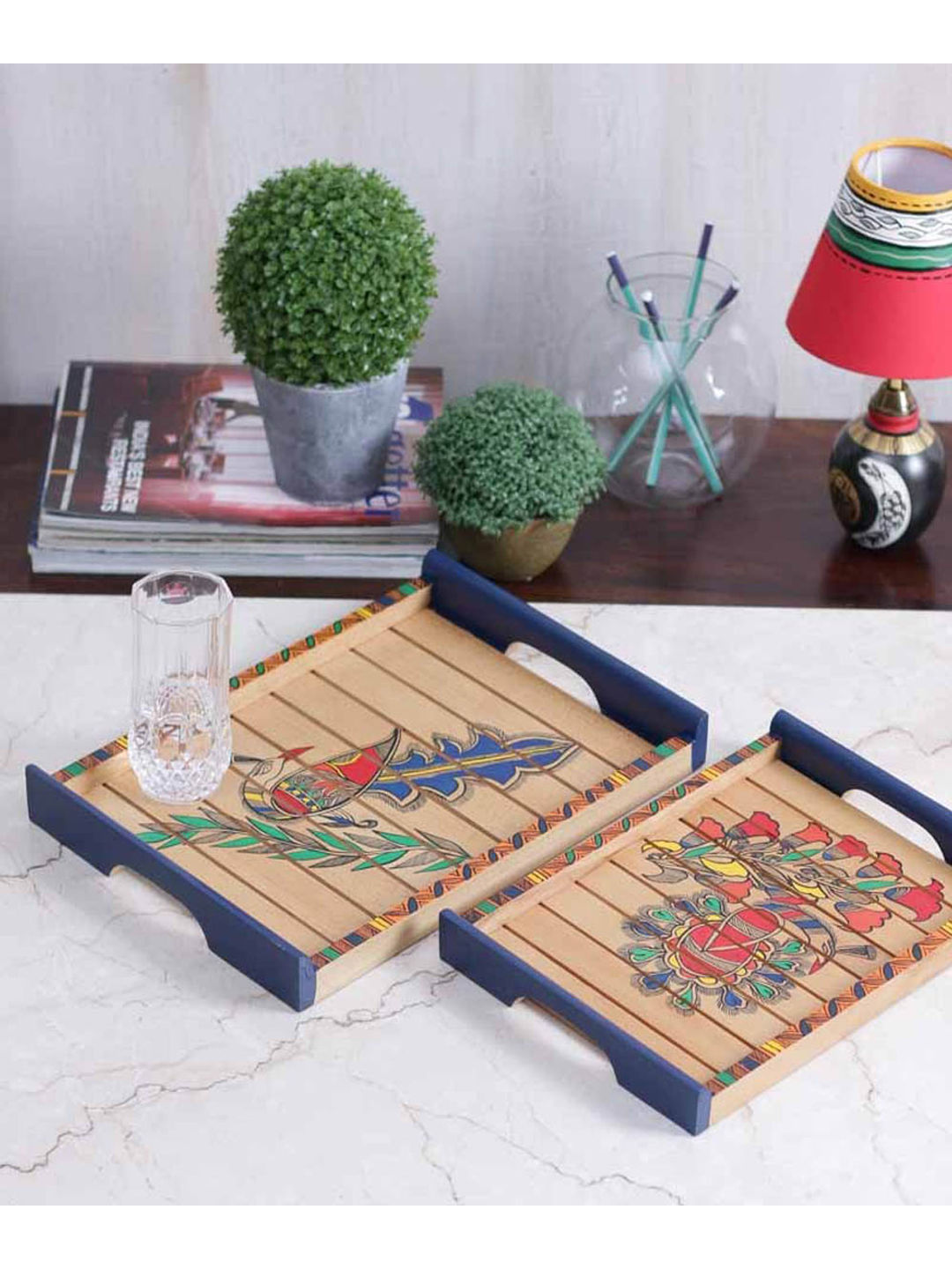 Light Brown Peacock Tray Set