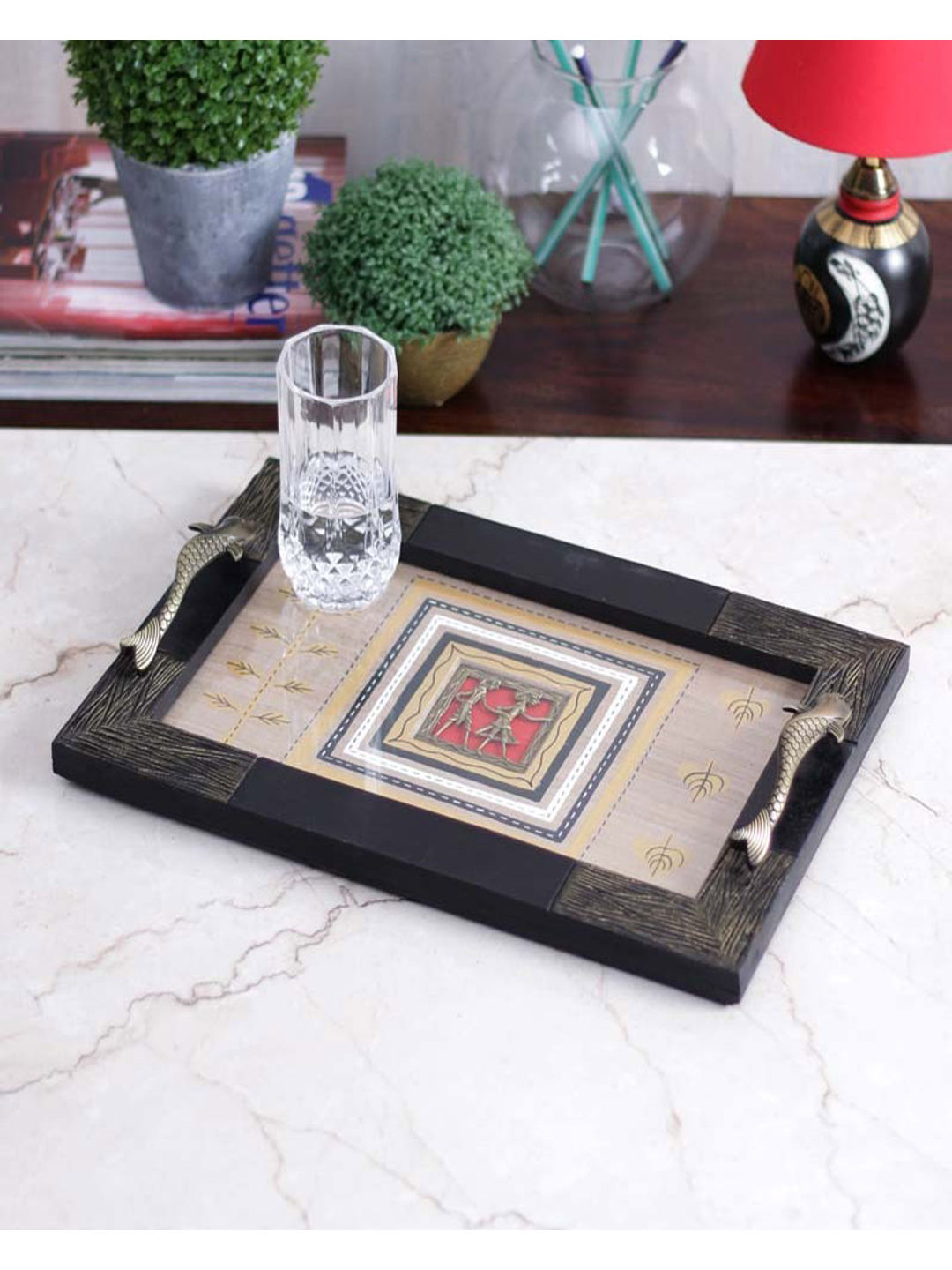 Handcrafted Wooden Engraved Dhokra Tray