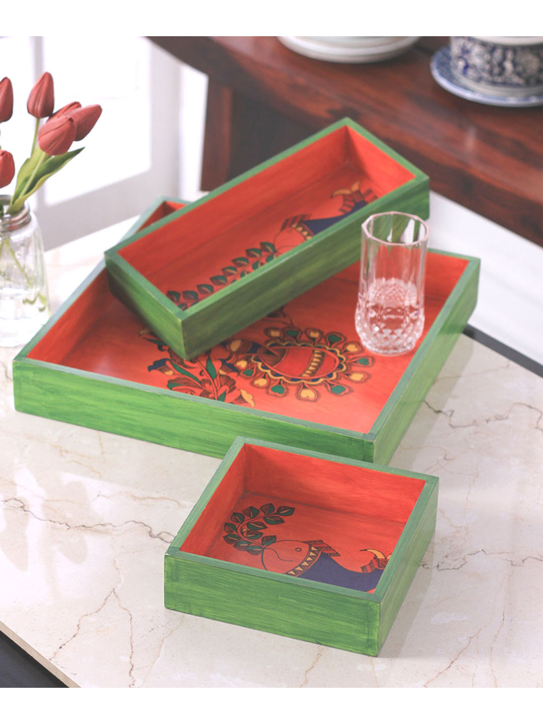 Hand Painted Green Orange Wooden Madhubani Tray Set of Three