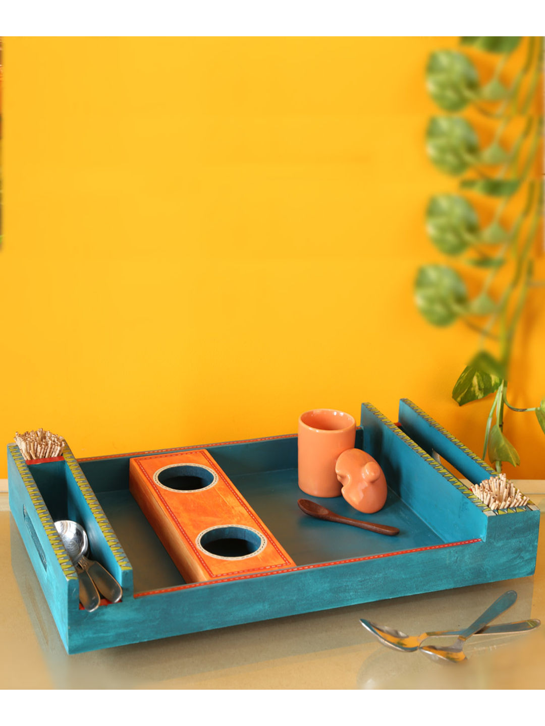 Handcrafted Blue Snacks Tray