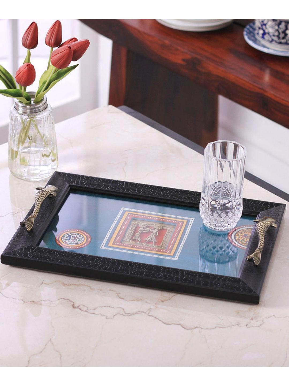 Hand Painted Acrylic framed Blue Tray