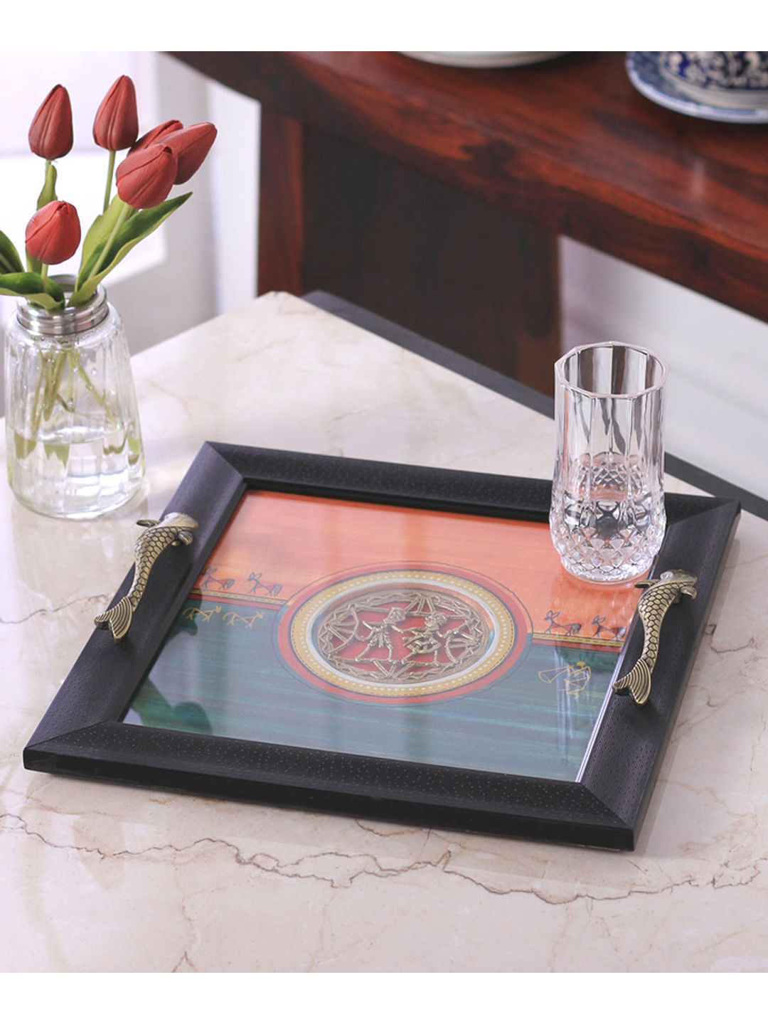 Hand Painted Orange Green Tray
