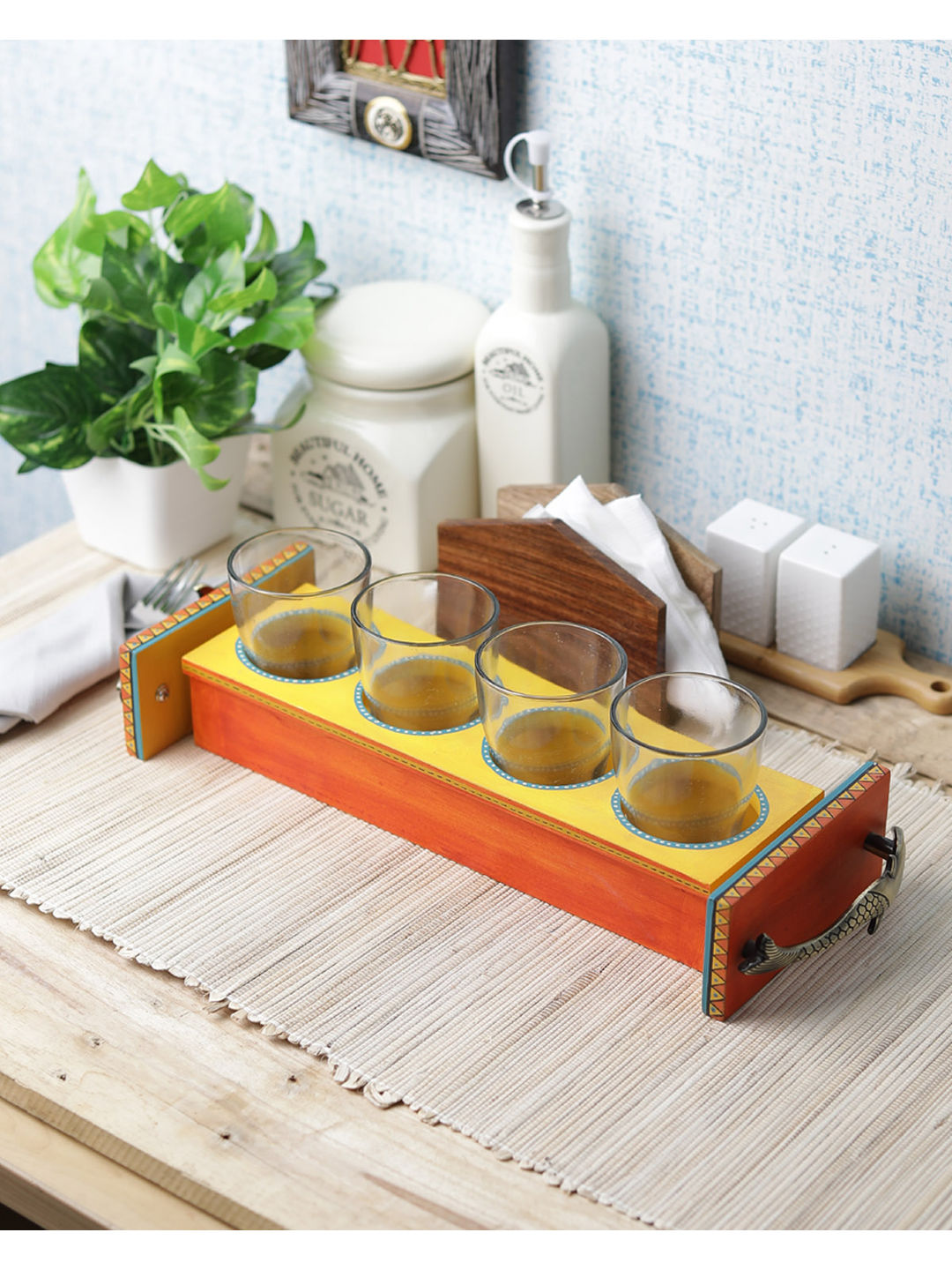 Hand Painted Wooden Tray with Four Glasses Set