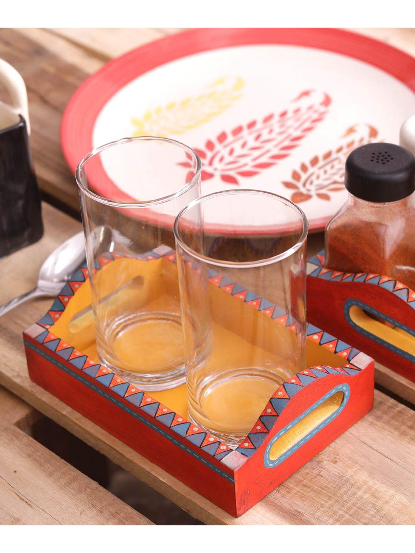 Hand Painted Orange Yellow Wooden Trays Set