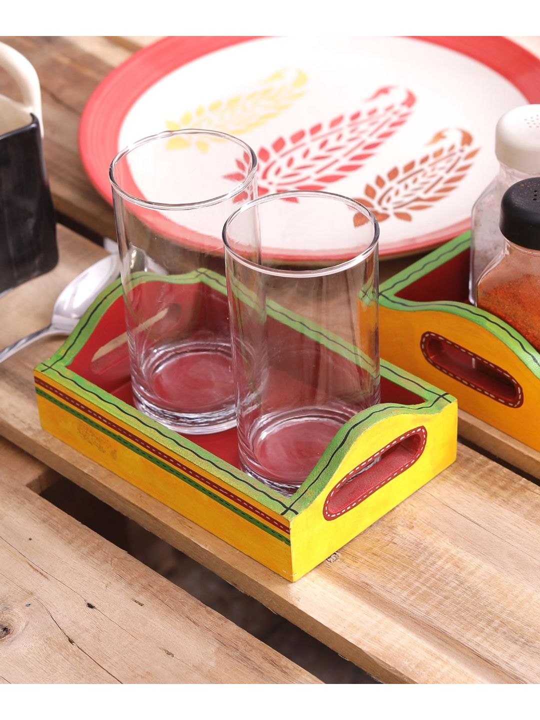 Hand Painted Yellow Red Wooden Trays Set