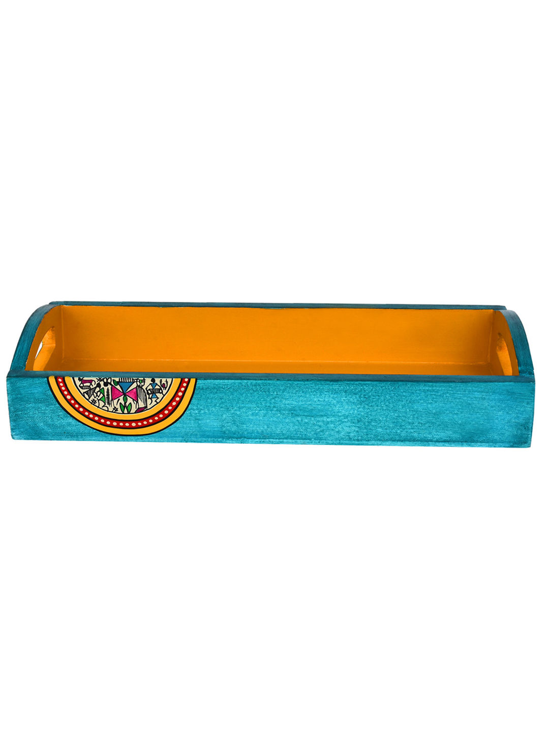Hand Painted Blue Yellow Wooden Runner Tray