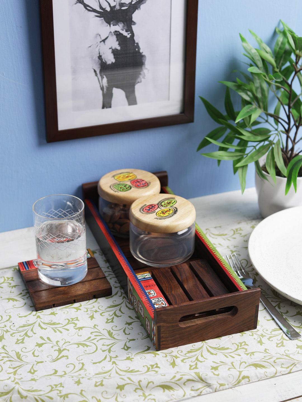 Warli Painted Sheesham Wood Tray with jars and coasters
