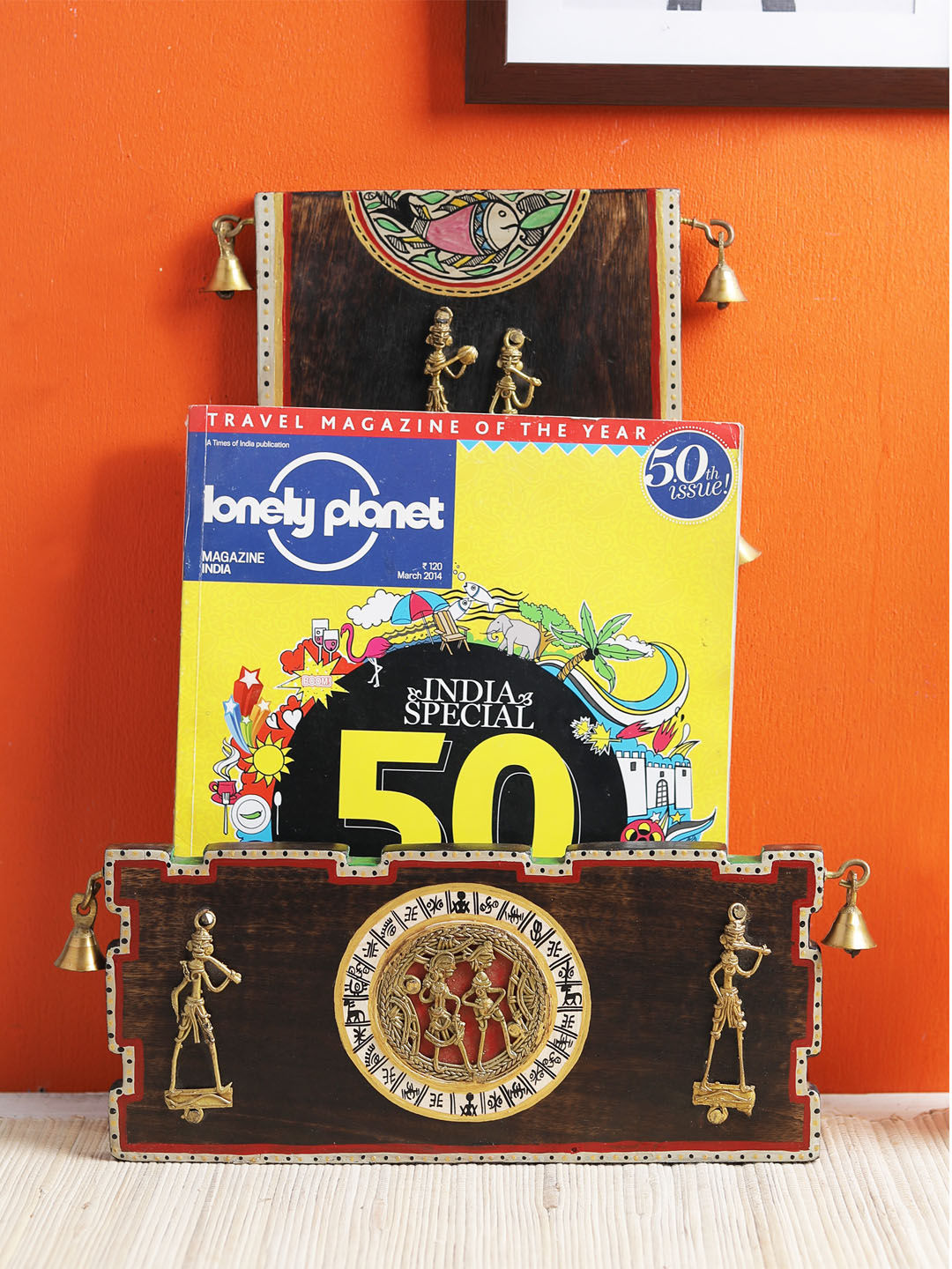 Mango Wood Dhokra Long Magazine Holder