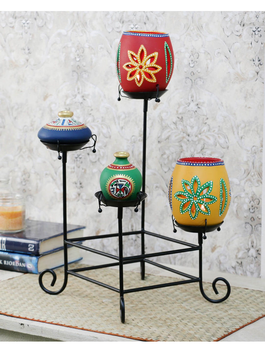 Hand Painted Terracotta Pots with Iron Stand