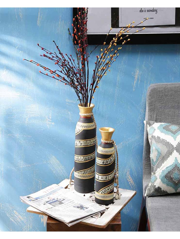 Black Gold Vases Pair