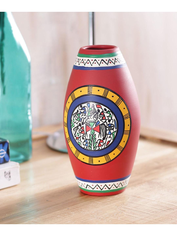 Handpainted Red Earthen Vase