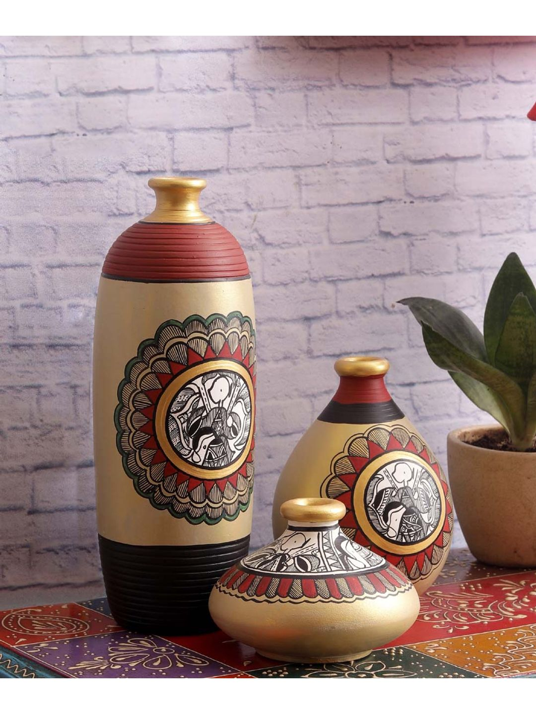 Grey Madhubani Terracotta Pots Set