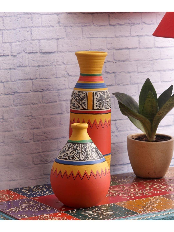 Madhubani Orange Terracotta Pots Set
