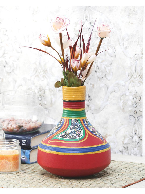Hand Painted Red Warli Vase