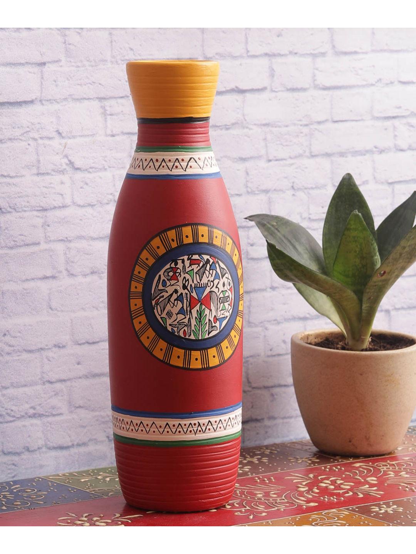 Brick Red Handpainted terracotta Vase