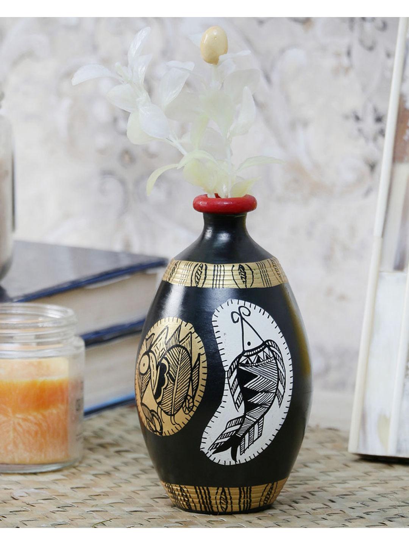 Handmade Black Madhubani Pot 5