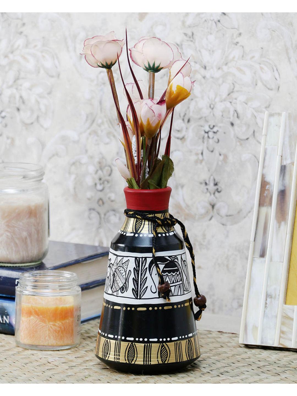 Black White Madhubani Terracotta Pot