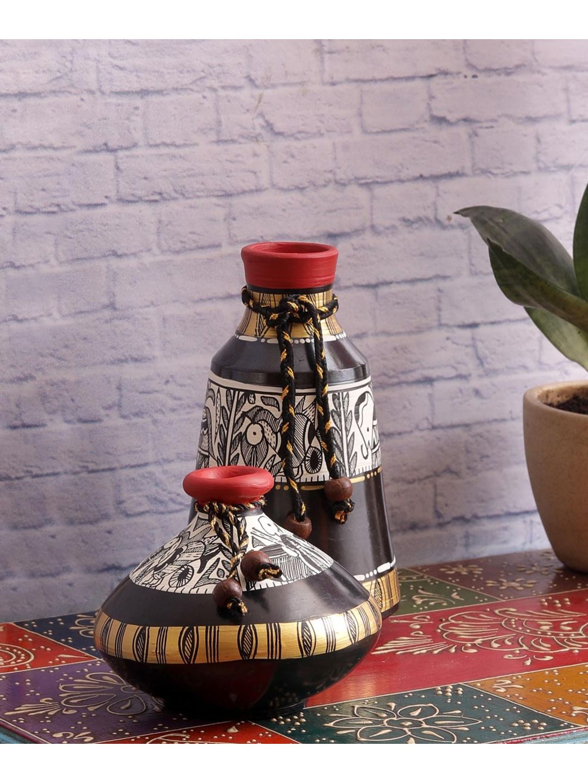 Madhubani Black Terracotta Pots Set of Two