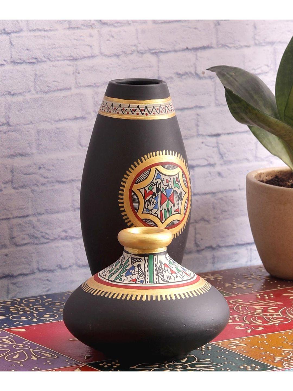 Black Warli Terracotta Pots Set of Two