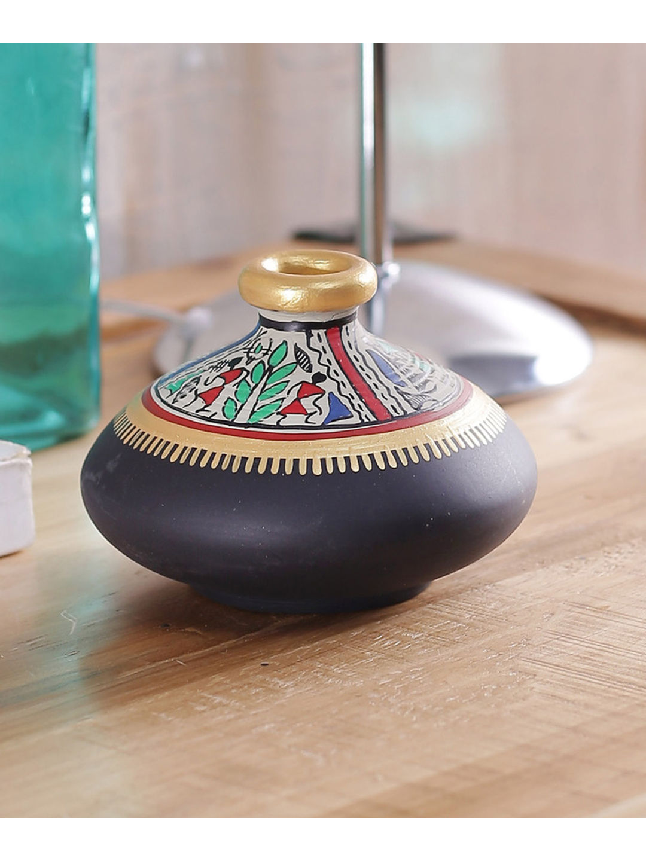 Terracotta Black Flat Earthen Pot