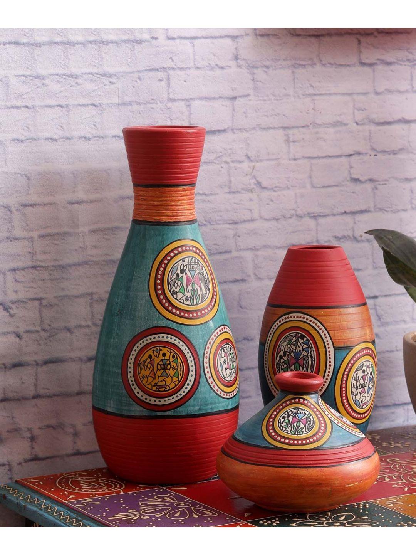 Hand Painted Blue Terracotta Warli Vases Set of Three