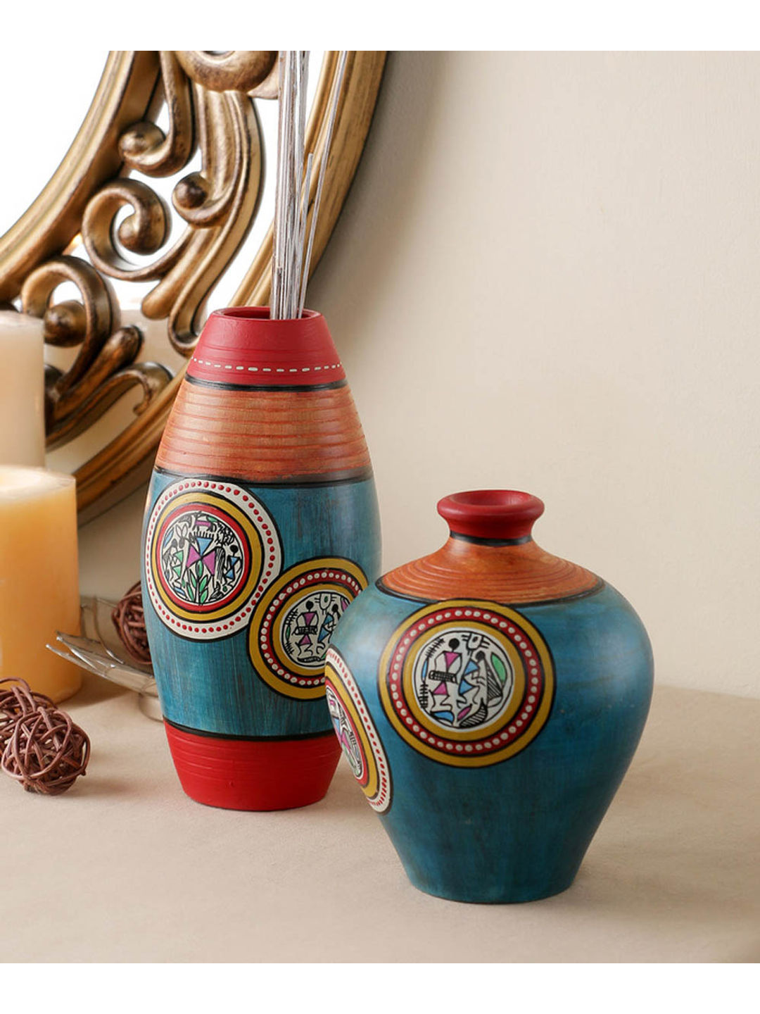 Blue Terracotta Hand Crafted Pots Set