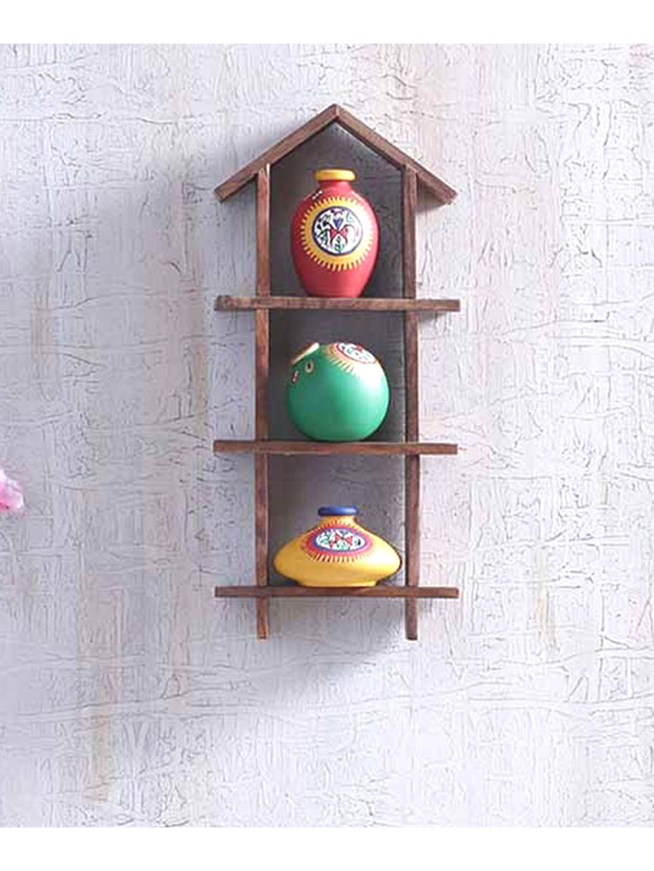 Handmade Hut Ladder with Terracotta Pots