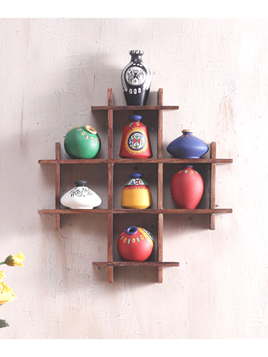 Handpainted Wall Ladder Decorative with Terracotta Pots