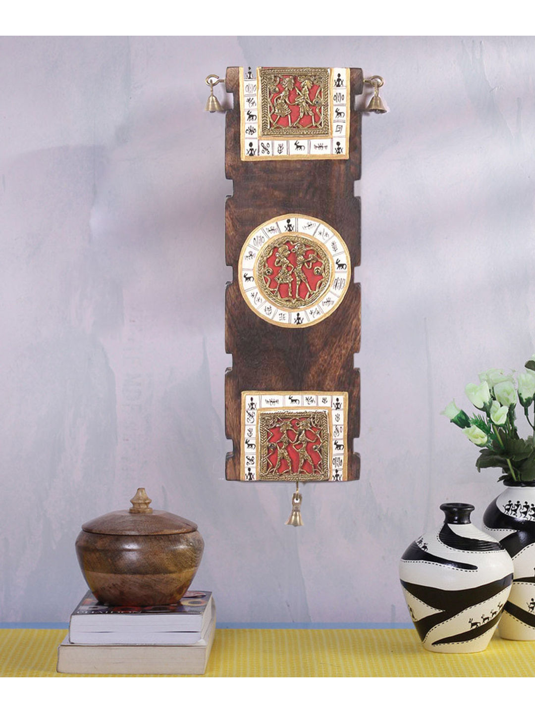 Handcrafted Wooden Dhokra Wall Hanging