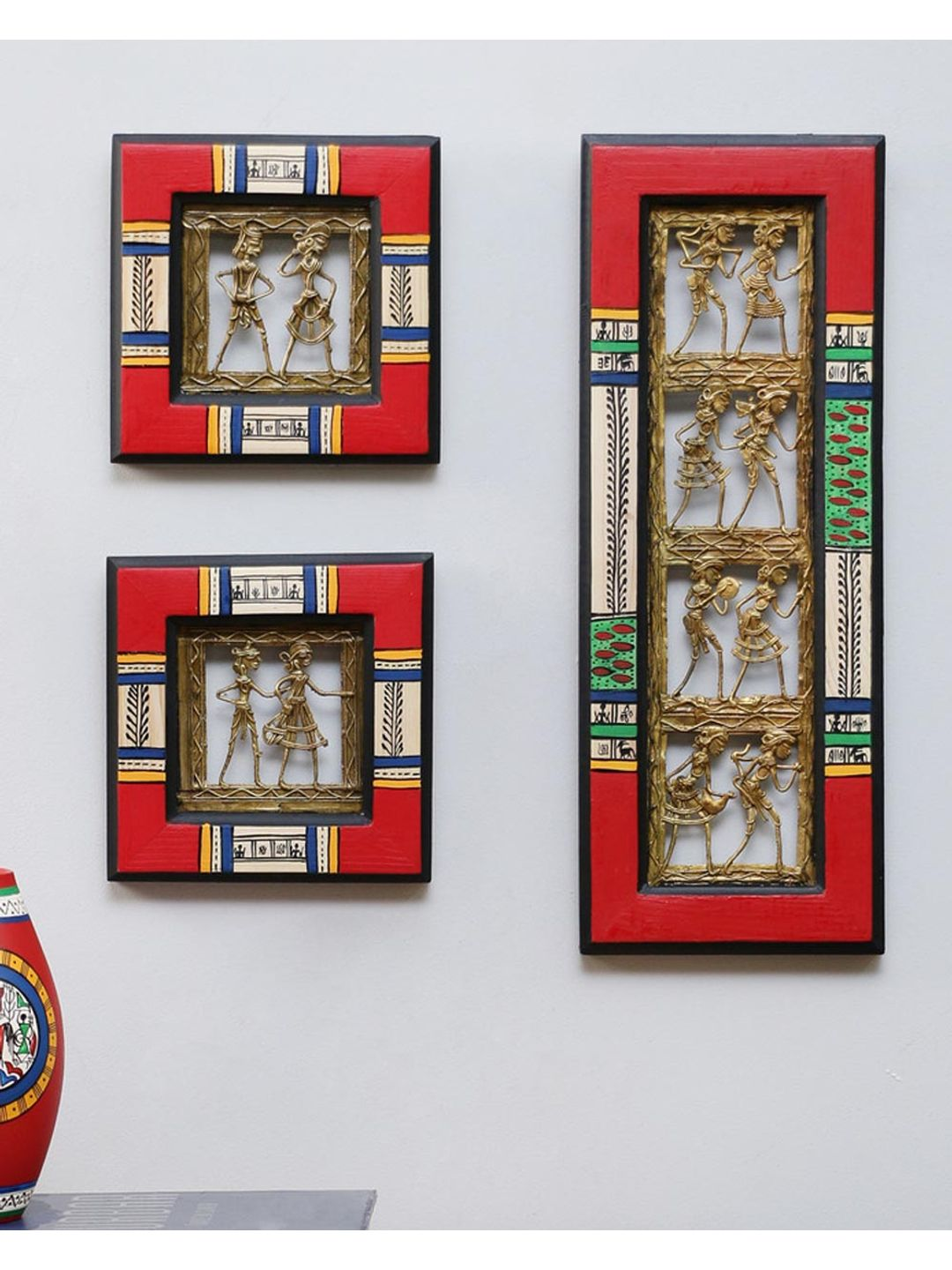 Red Wood Dhokra Wall Hanging Set of Three