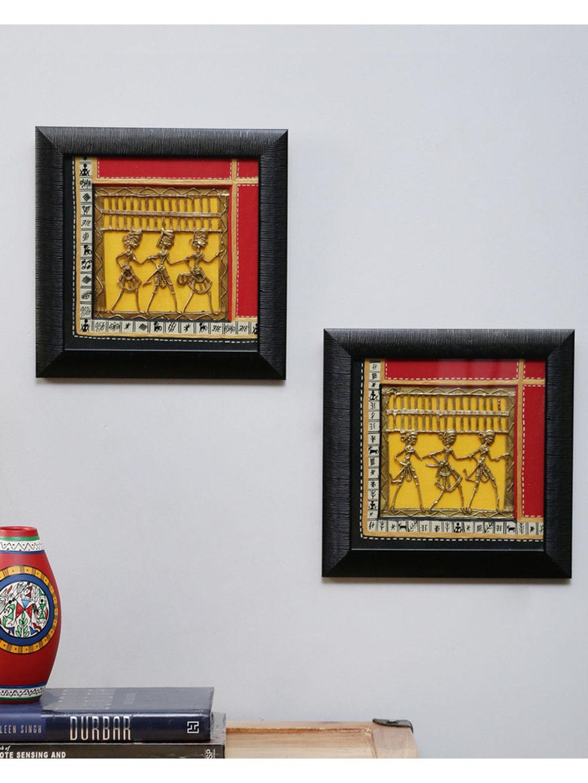 Yellow Dhokra Wall Hanging Set