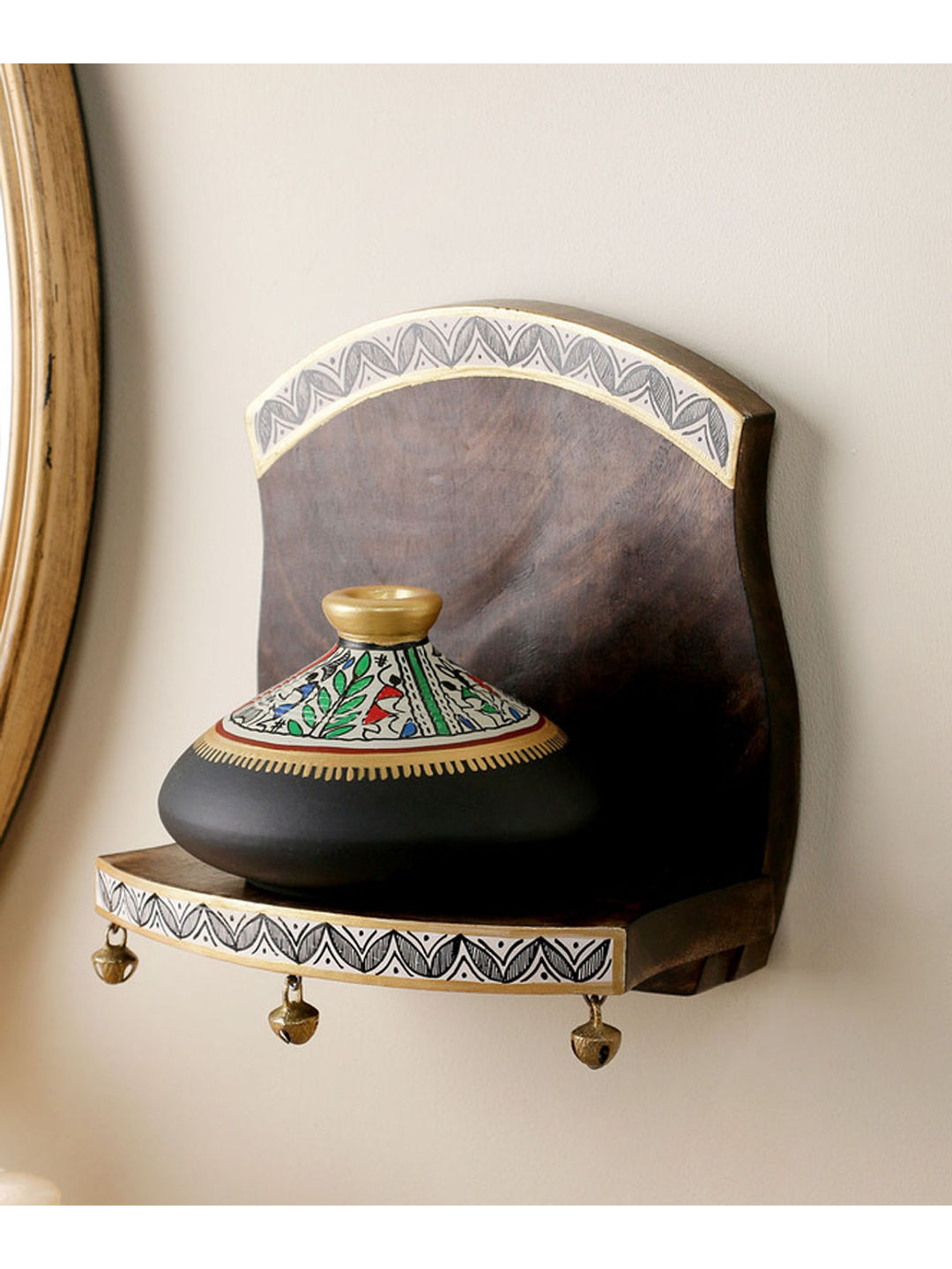 Hand painted wall shelf with black pot
