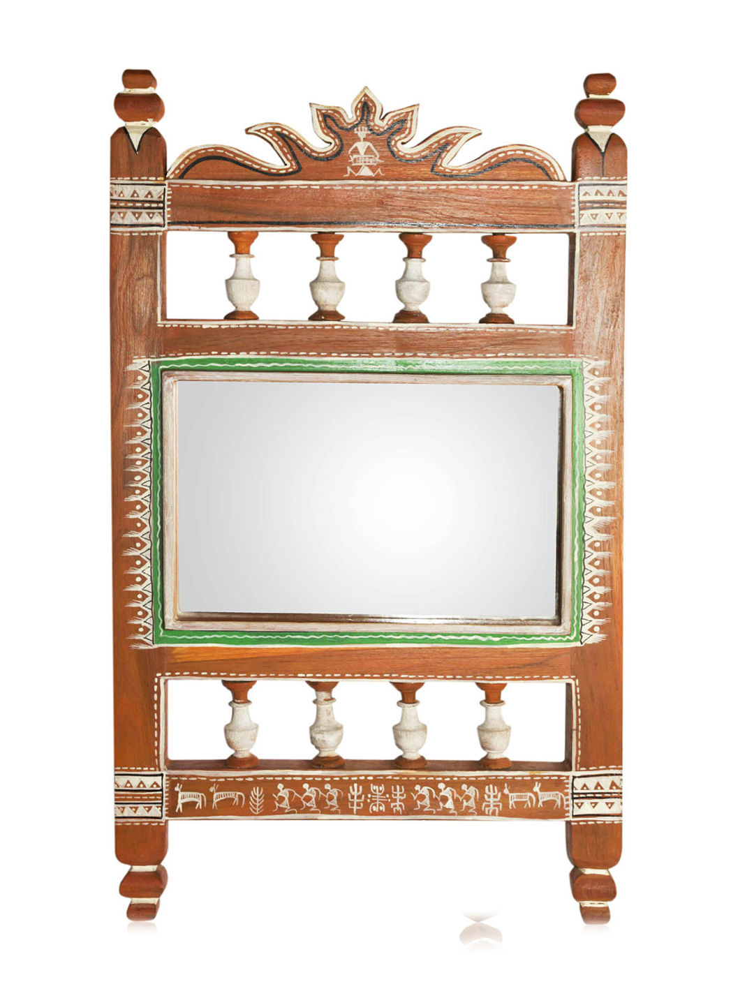 Hand Painted Ethnic Wooden Mirror