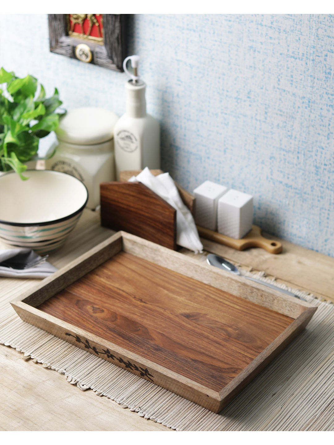 Hand Made Flowery Vine Wooden Tray