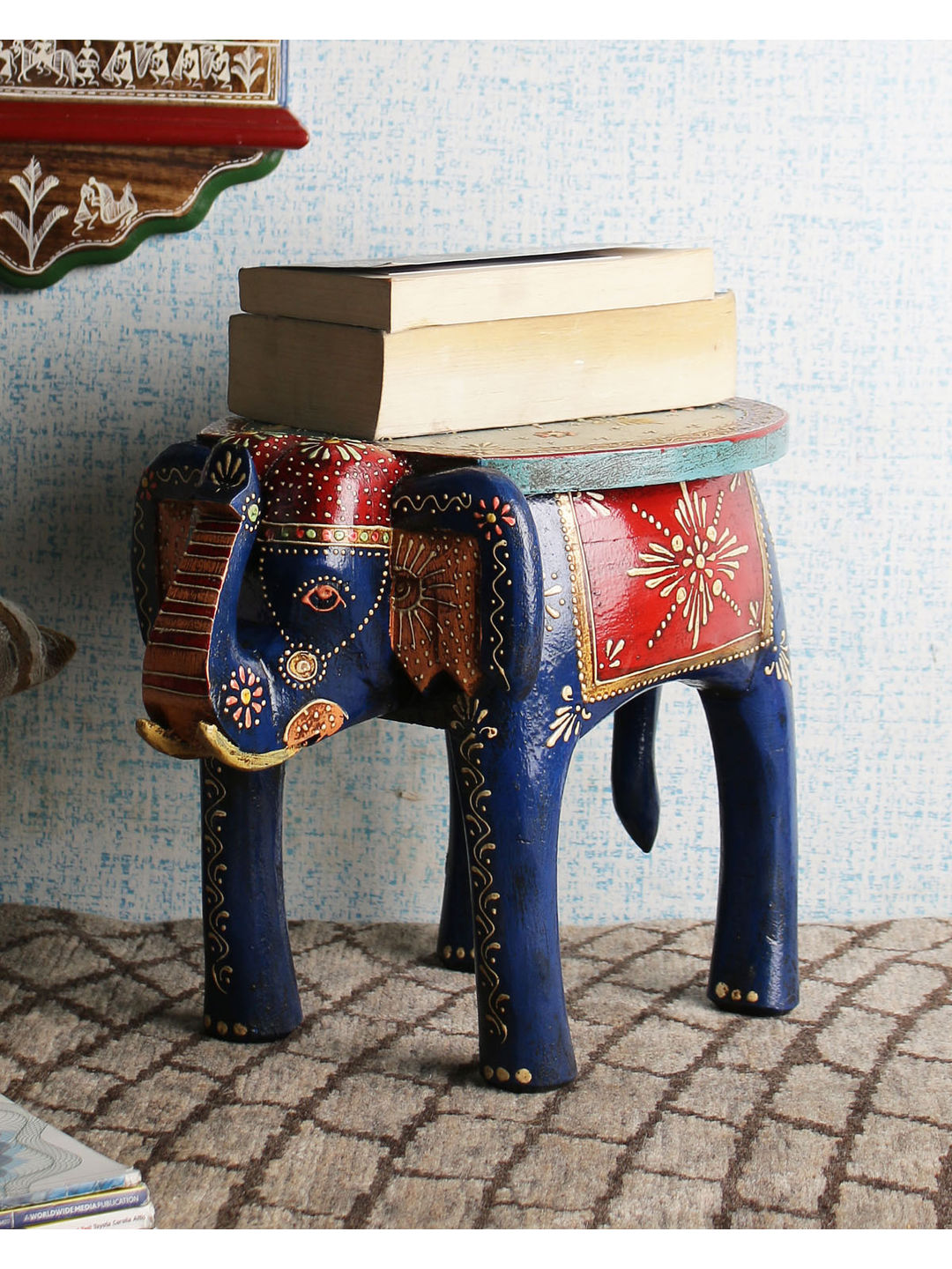 Hand Painted Jaipuri 12 Inch Elephant Stool