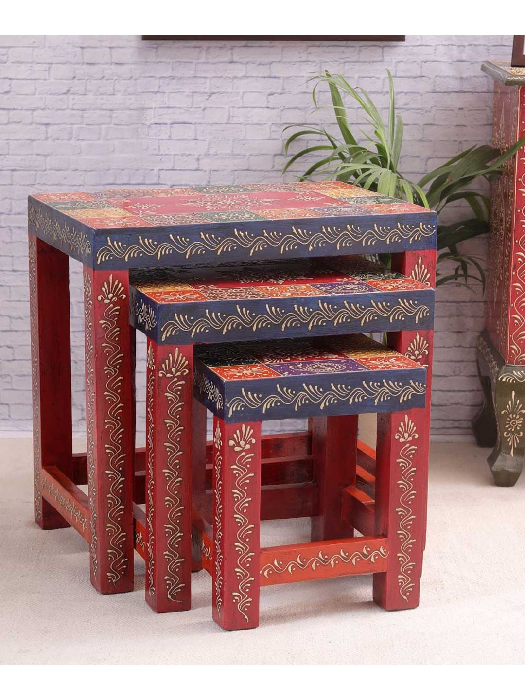 Hand Crafted Rajasthani Nesting Set of Tables