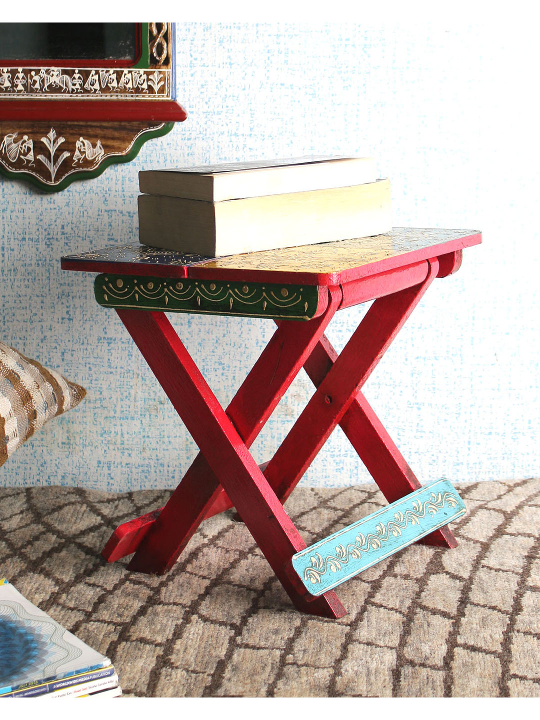 Rajasthani Wooden Small Folding Table