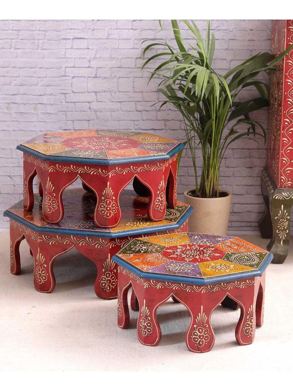 Hand Crafted Rajasthani Chowki Set of Three