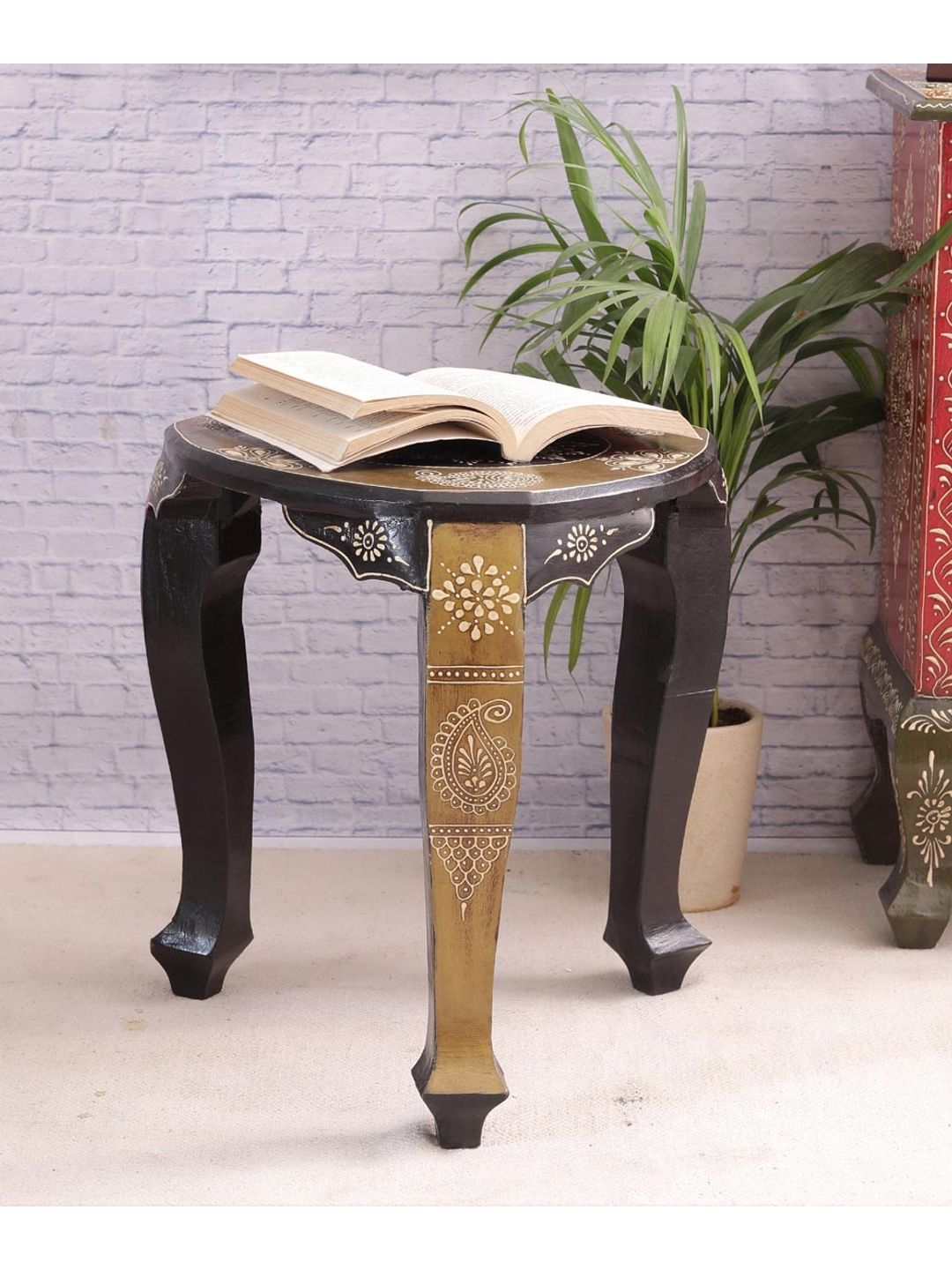 Rajasthani Gold Green Triangle Stool cum Table