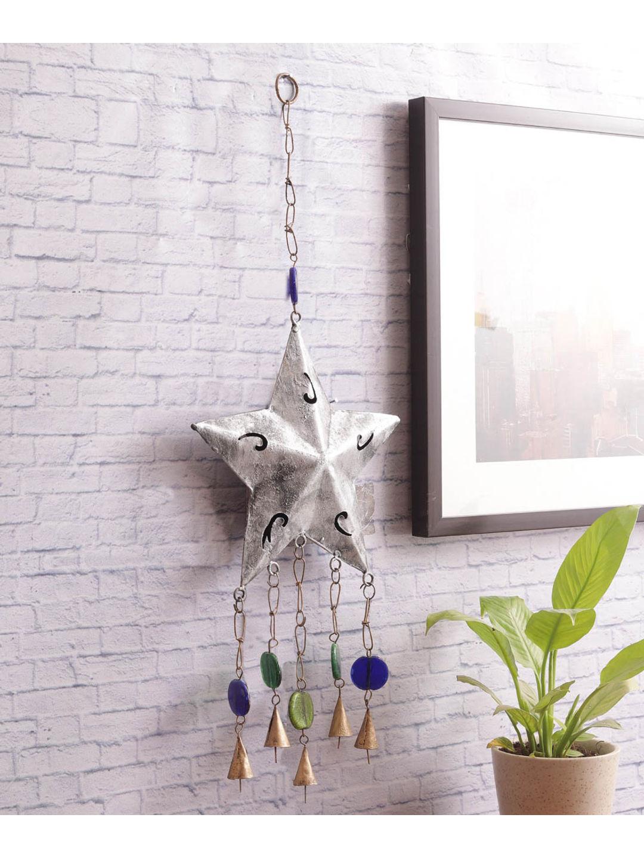 Alluring Silver Star Bell Decorative