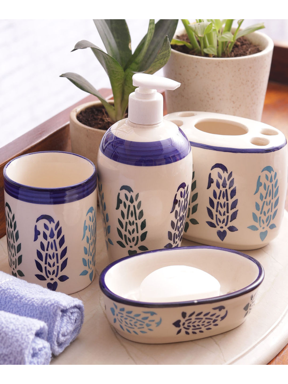 Blue Paisley Ceramic 4 piece Bathroom Accessories Set