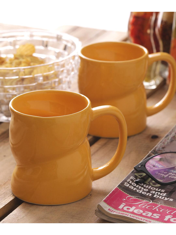 Yellow Ceramic Milk Mugs & Glasses Set of Two